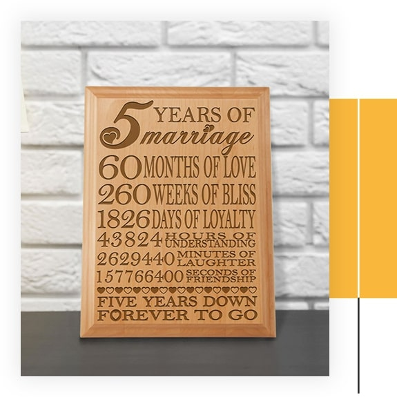 KATE POSH - 5th Anniversary Engraved Natural Wood Plaque