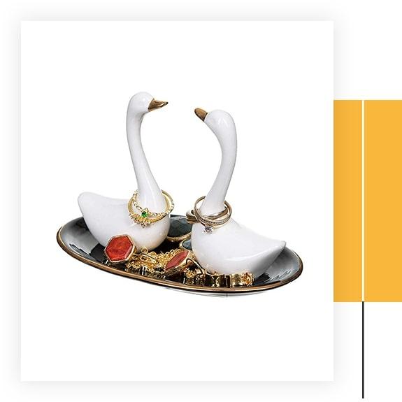 Ceramic Swan Ring Holder Dish Organizer