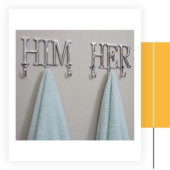 Him And Her Towel Hooks
