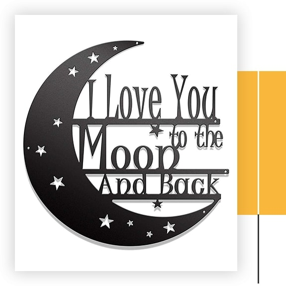 Steel Roots Decor I Love You To The Moon And Back Metal Wall Art