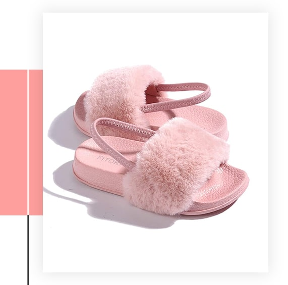 Fitory Faux Fur Slides Sandals