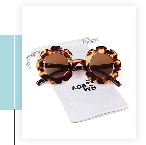 ADEWU Round Flower Cute Sunglasses
