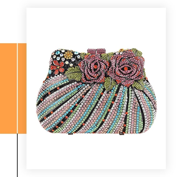 Fawziya Bling Rose Clutch