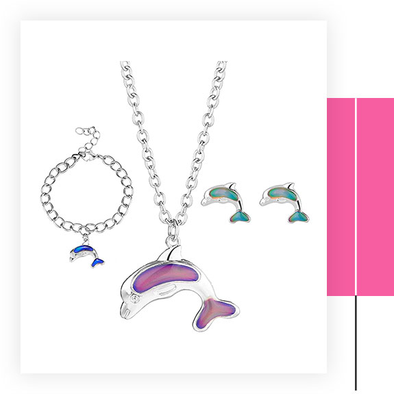 Dolphin Mood Necklace, Bracelet and Earrings Set