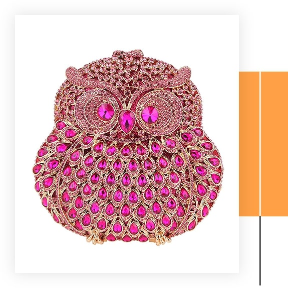 Fawziya Owl Purse With Chain Clutch