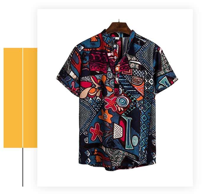 Haoricu Men's Summer V Neck Casual Shirt