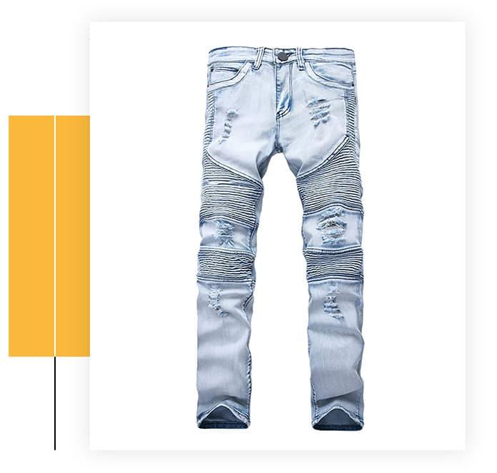 NITAGUT Men's Ripped Slim Biker Jeans