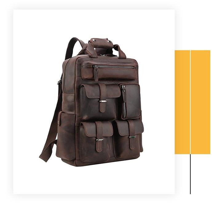 POLARE ORIGINAL Cowhide Leather Multiple Laptop Travel Bag