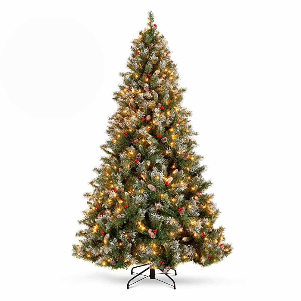 Best Choice Products 6 Ft Pre-Lit Pre Decorated Pine Hinged Artificial Christmas Tree with Frosted Tips