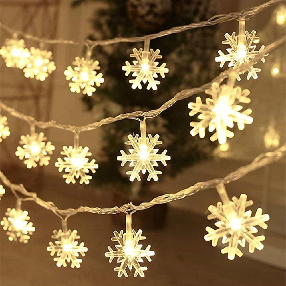 Christmas Lights, Snowflake String Lights 20 FT 40 LED