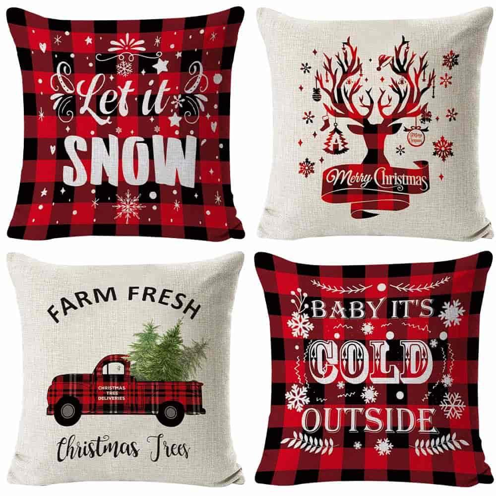 HAJACK Christmas Throw Pillow Cases Set of 4