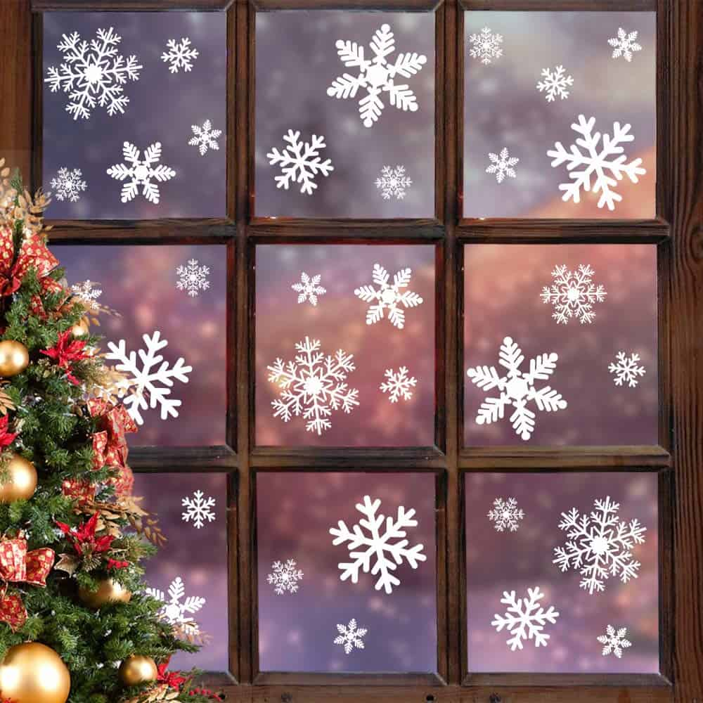 LUDILO 135 Pcs Christmas Window Clings Snowflakes Window Decals
