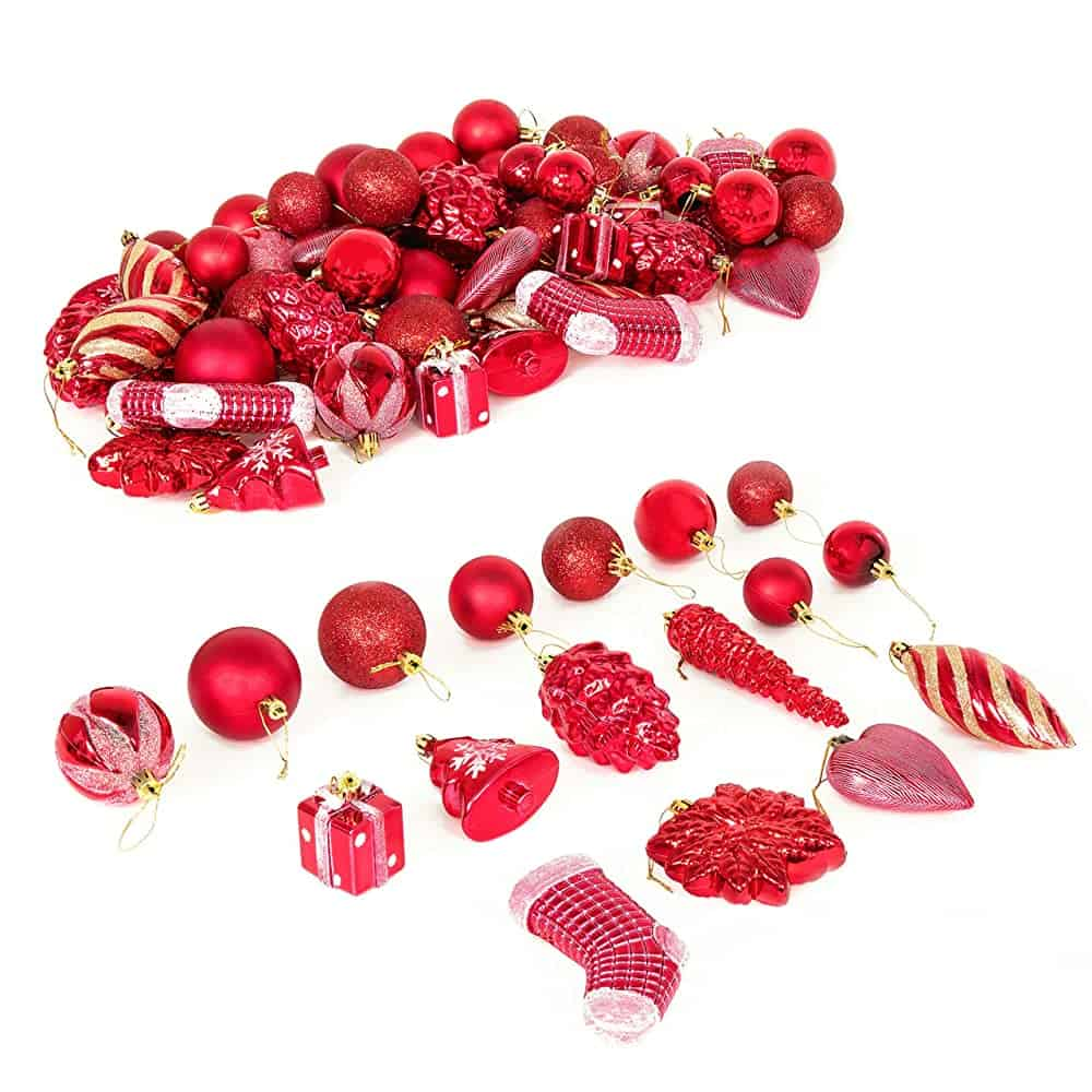 SuccessfulHome Amazing Christmas Set of 72 Handcrafted Shatterproof Hanging Christmas Ornaments